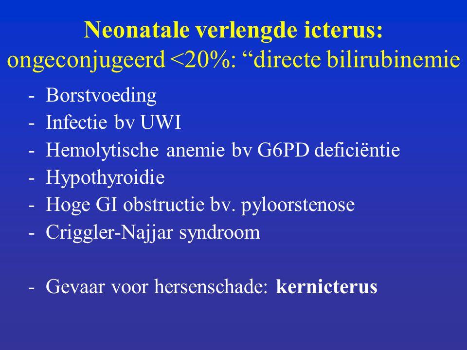 Neonatale verlengde icterus: ongeconjugeerd <20%: directe bilirubinemie