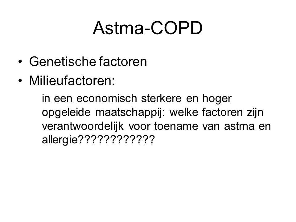 Astma-COPD Genetische factoren Milieufactoren: