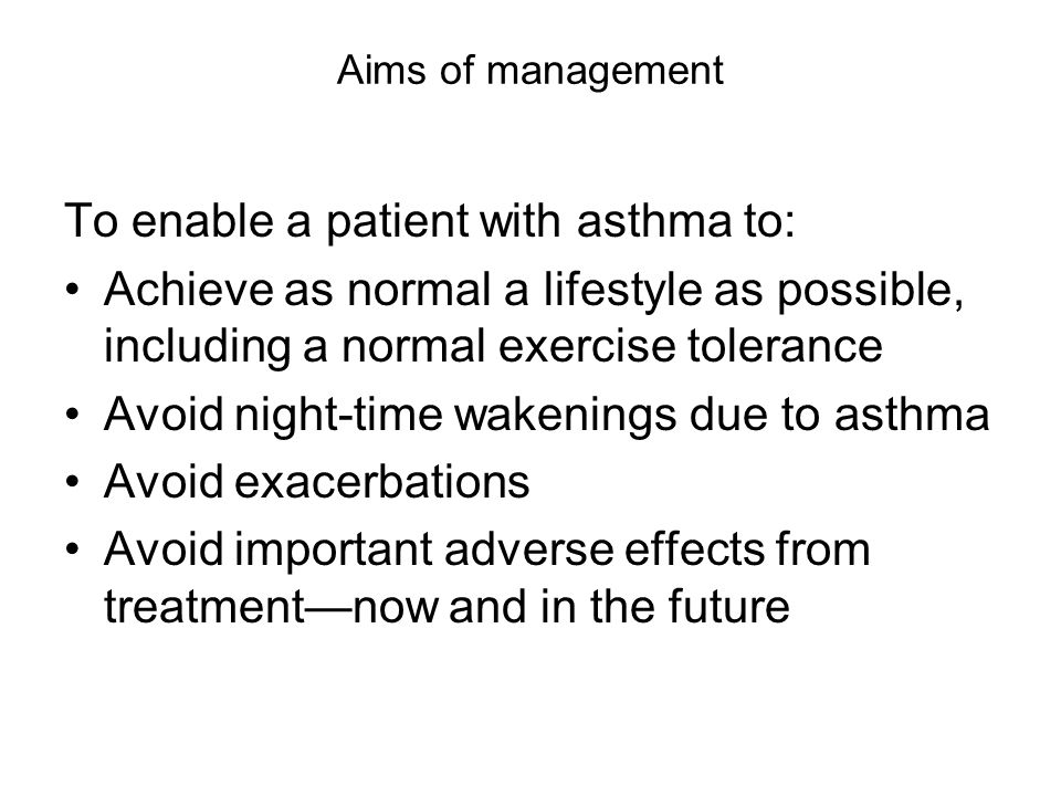 To enable a patient with asthma to: