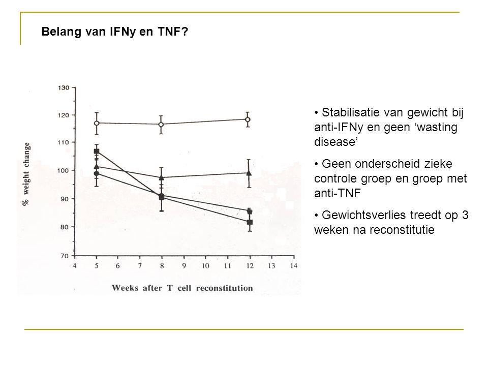 Belang van IFNy en TNF Stabilisatie van gewicht bij anti-IFNy en geen 'wasting disease' Geen onderscheid zieke controle groep en groep met anti-TNF.