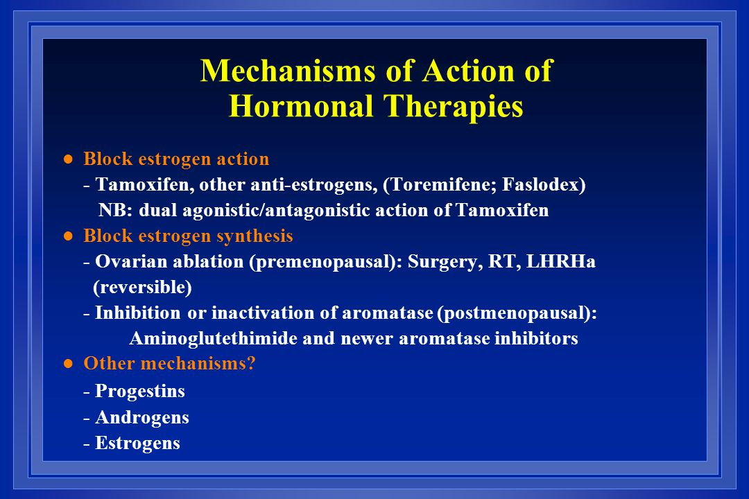 Mechanisms of Action of Hormonal Therapies