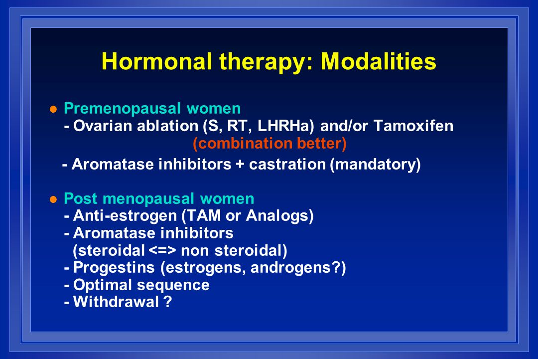 Hormonal therapy: Modalities
