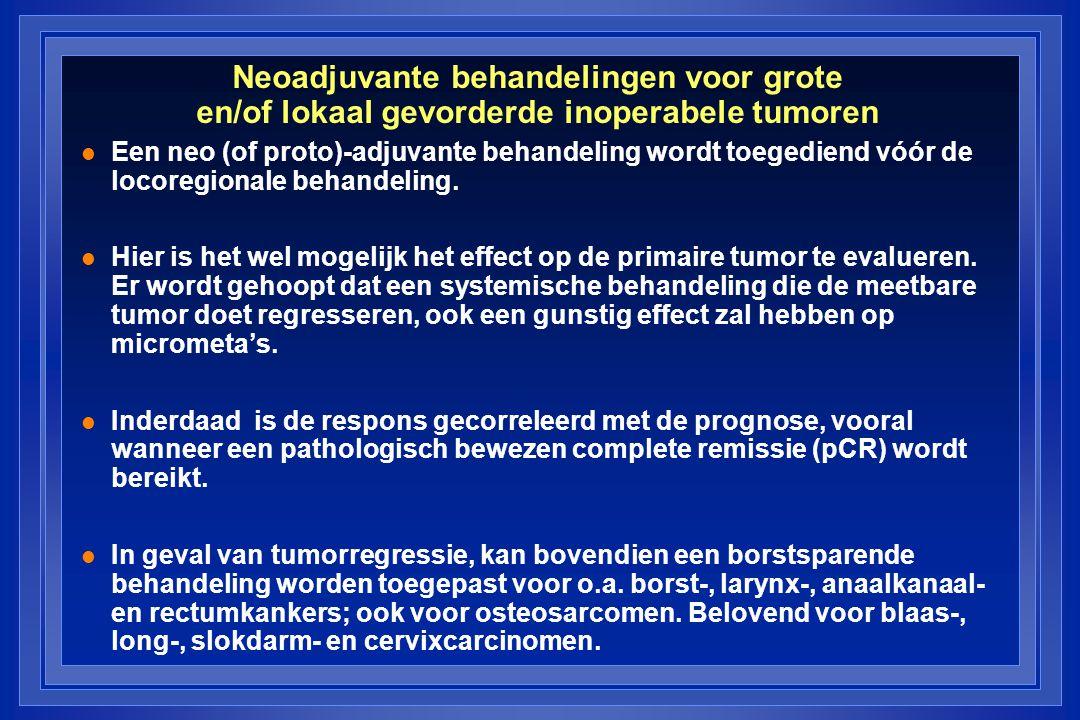Neoadjuvante behandelingen voor grote en/of lokaal gevorderde inoperabele tumoren