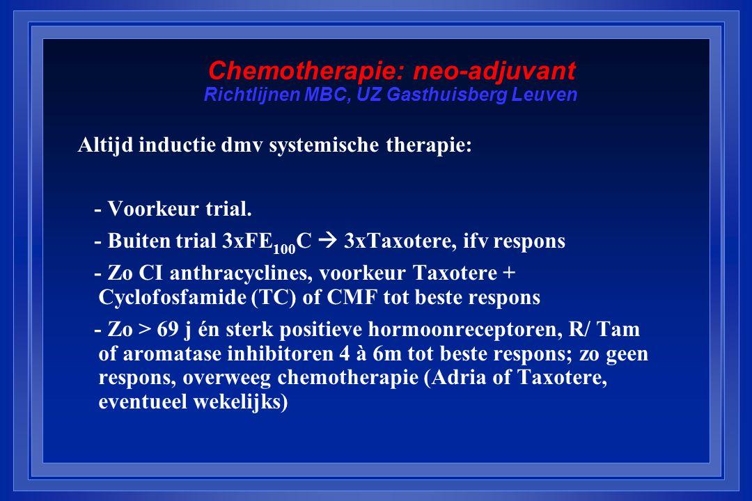 Chemotherapie: neo-adjuvant Richtlijnen MBC, UZ Gasthuisberg Leuven