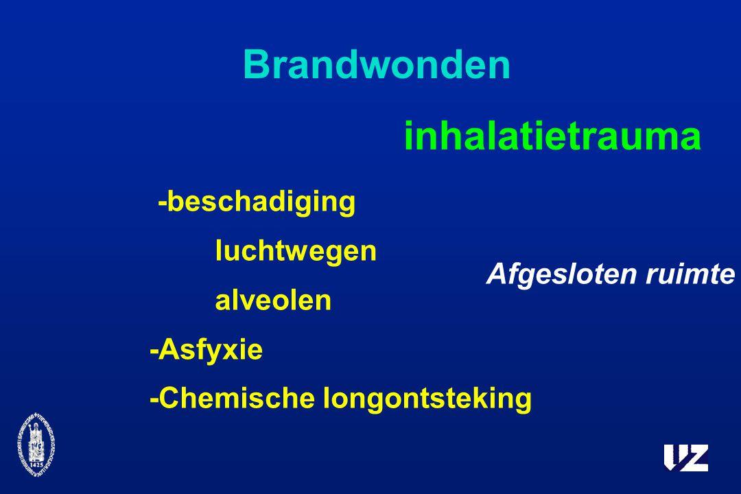 Brandwonden inhalatietrauma -beschadiging luchtwegen alveolen -Asfyxie