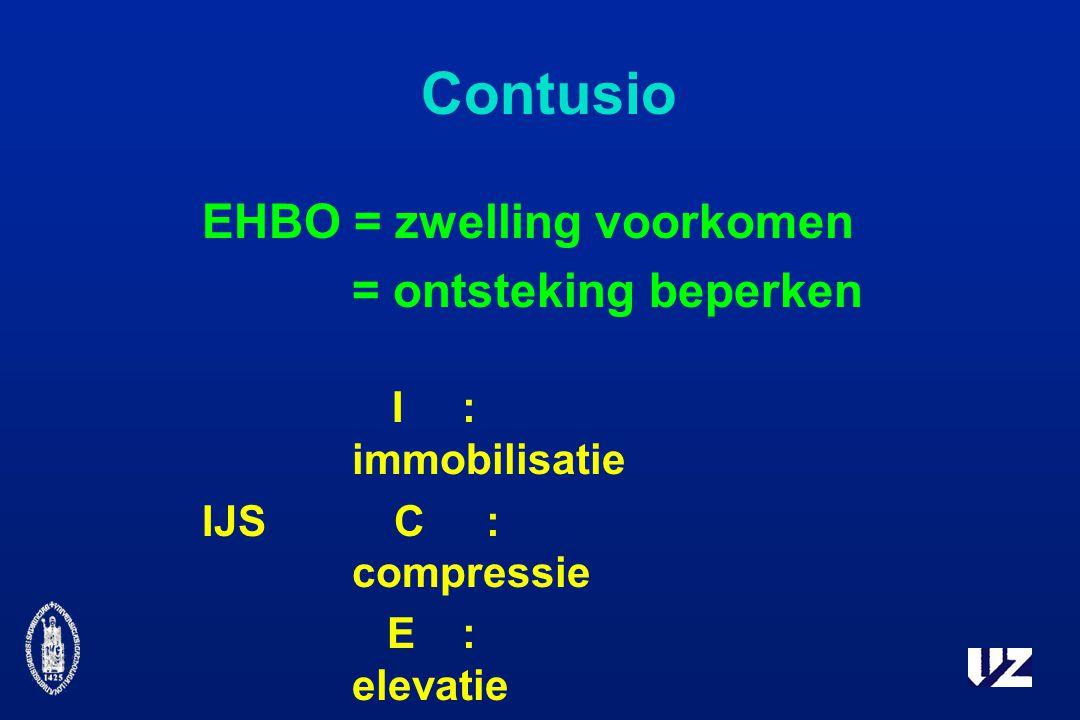 Contusio EHBO = zwelling voorkomen = ontsteking beperken