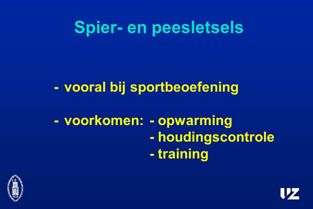 Spier- en peesletsels - vooral bij sportbeoefening