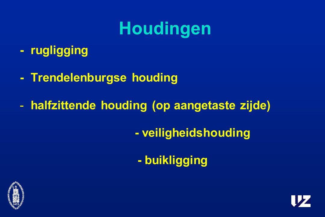 Houdingen - rugligging - Trendelenburgse houding