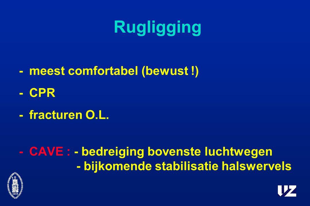 Rugligging - meest comfortabel (bewust !) - CPR - fracturen O.L.