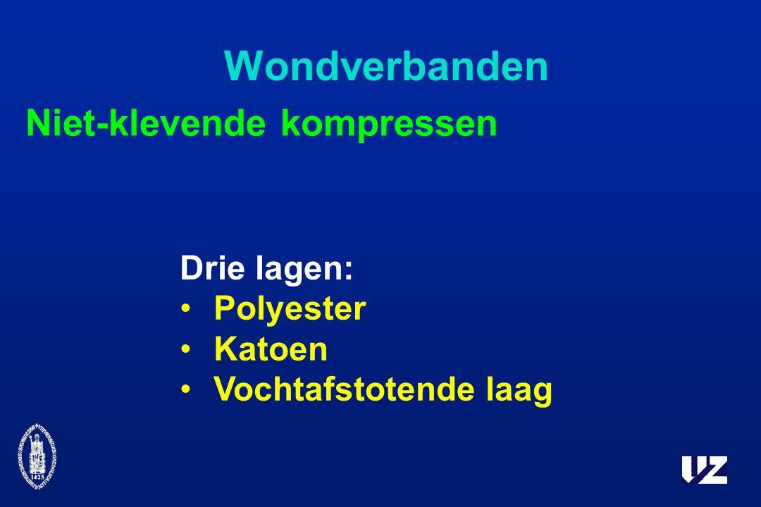 Wondverbanden Niet-klevende kompressen Drie lagen: Polyester Katoen