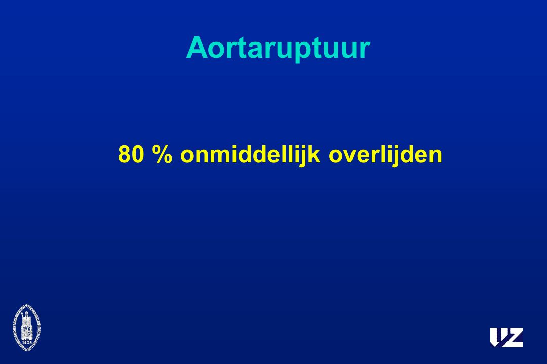 Aortaruptuur 80 % onmiddellijk overlijden