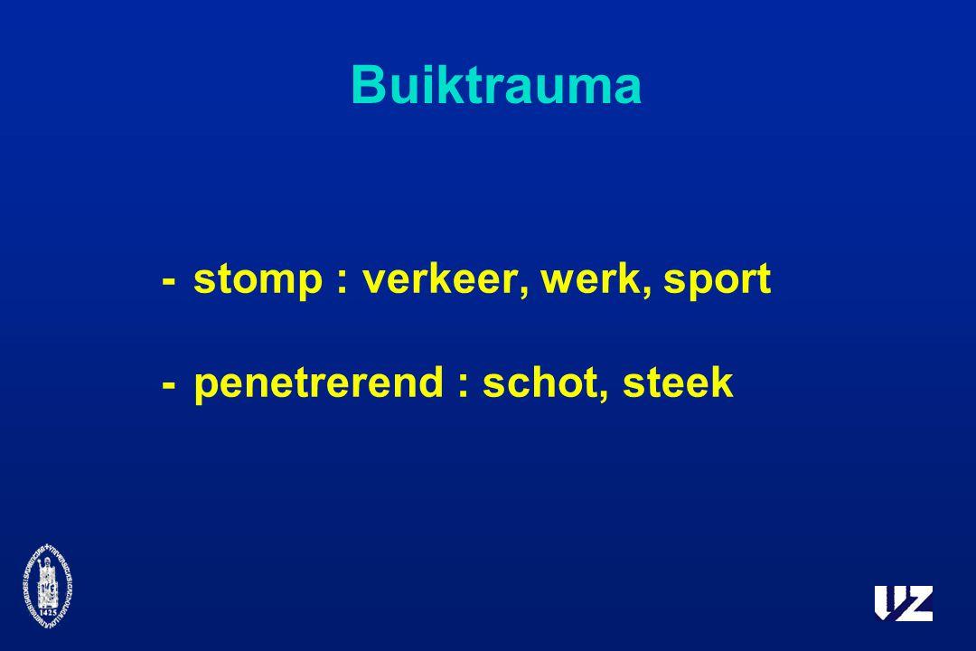 Buiktrauma - stomp : verkeer, werk, sport - penetrerend : schot, steek