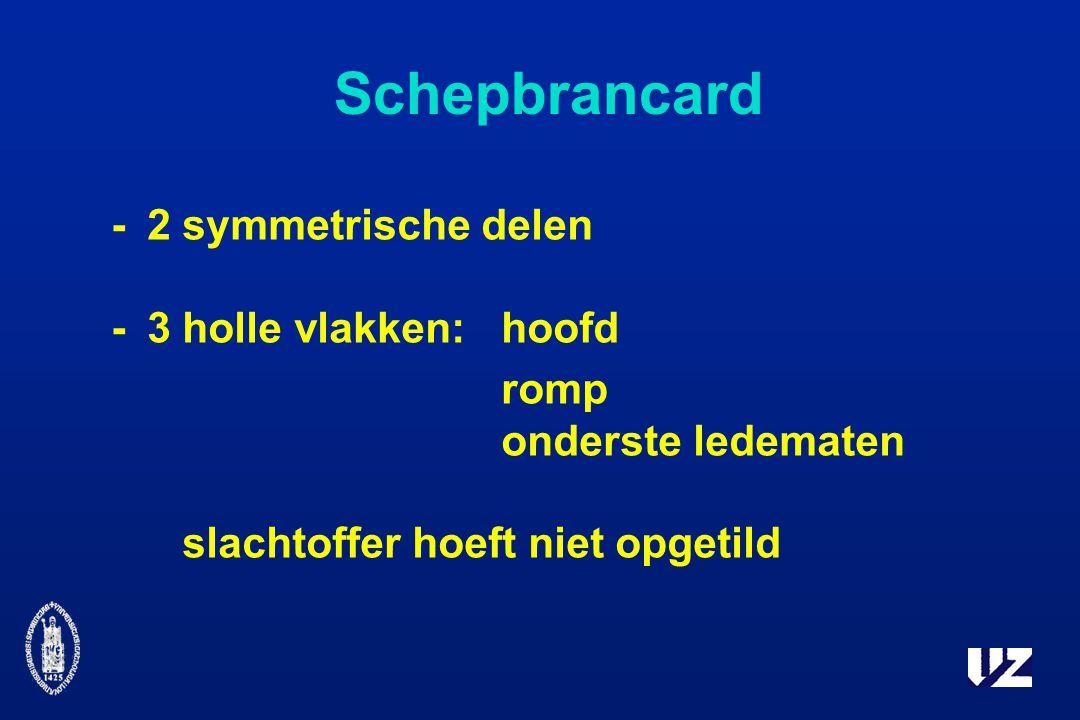 Schepbrancard - 2 symmetrische delen - 3 holle vlakken: hoofd