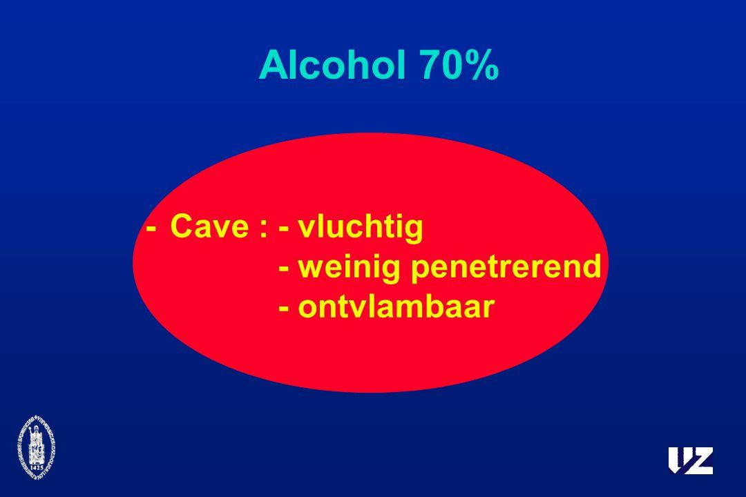 Alcohol 70% - Cave : - vluchtig - weinig penetrerend - ontvlambaar