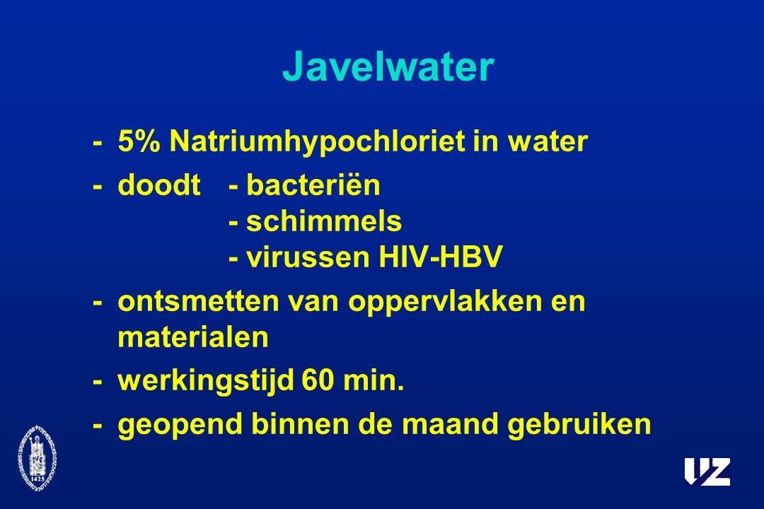 Javelwater - 5% Natriumhypochloriet in water - doodt - bacteriën