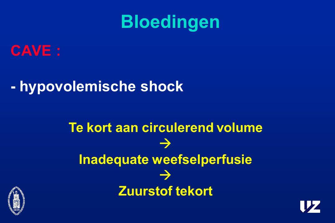 Te kort aan circulerend volume Inadequate weefselperfusie