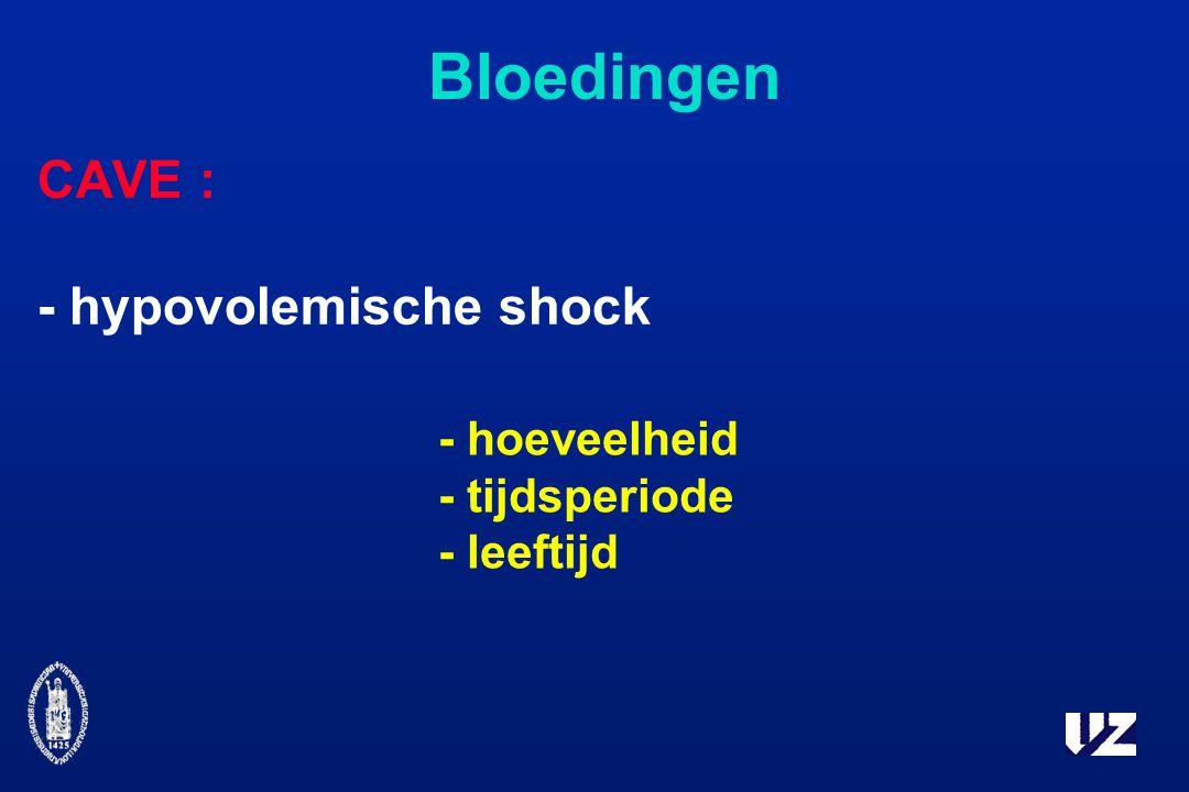 Bloedingen CAVE : - hypovolemische shock - hoeveelheid - tijdsperiode