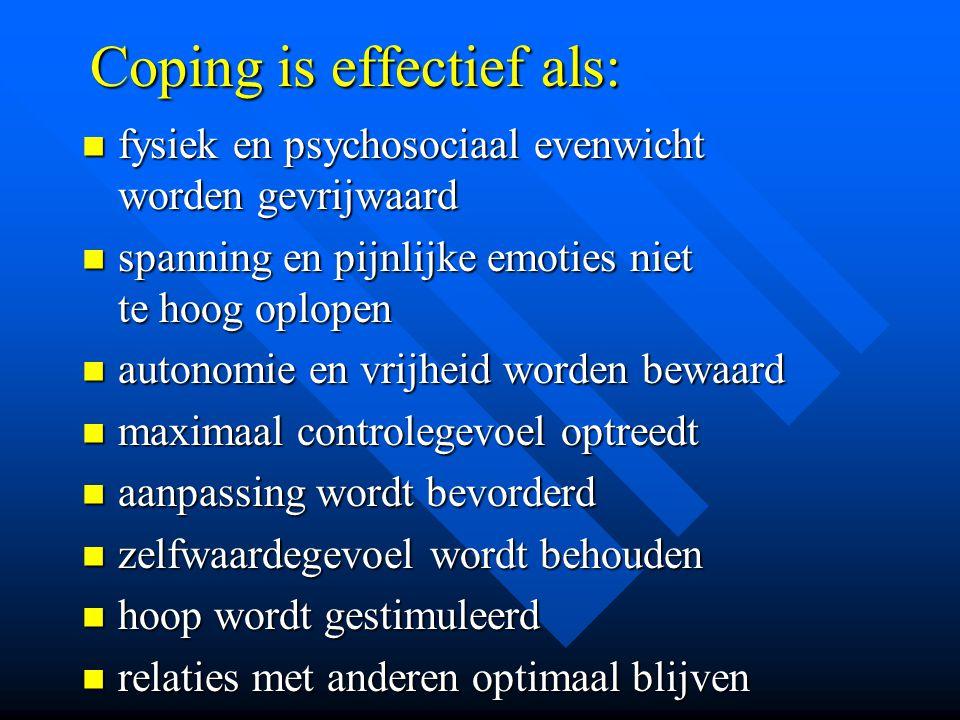 Coping is effectief als: