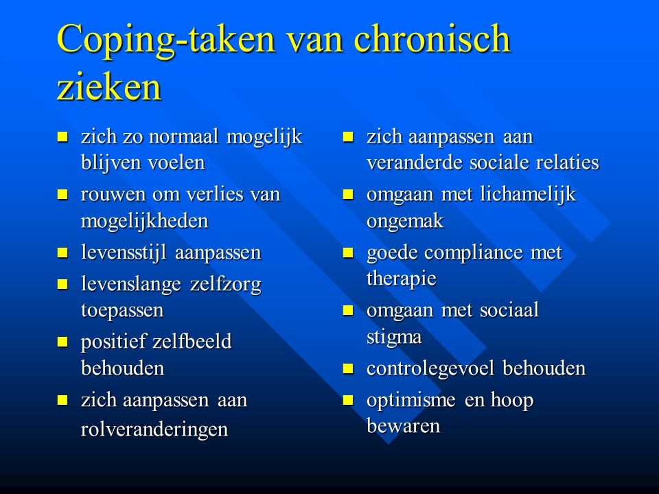 Coping-taken van chronisch zieken