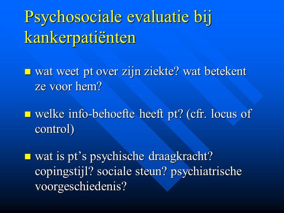 Psychosociale evaluatie bij kankerpatiënten
