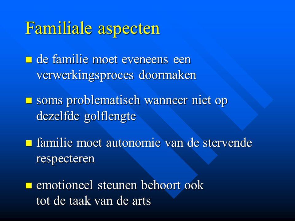 Familiale aspecten de familie moet eveneens een verwerkingsproces doormaken. soms problematisch wanneer niet op dezelfde golflengte.