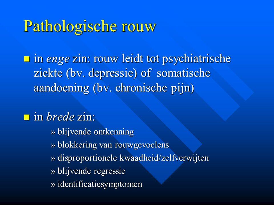 Pathologische rouw in enge zin: rouw leidt tot psychiatrische ziekte (bv. depressie) of somatische aandoening (bv. chronische pijn)