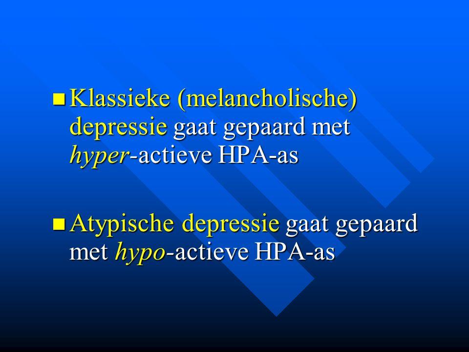 Klassieke (melancholische) depressie gaat gepaard met hyper-actieve HPA-as