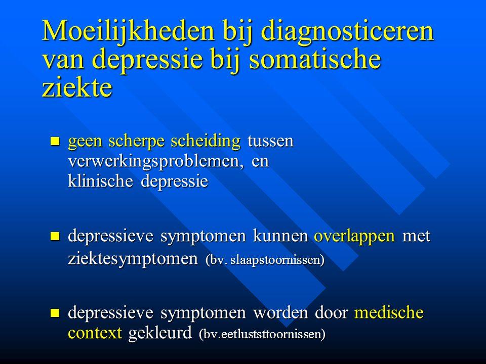 Moeilijkheden bij diagnosticeren van depressie bij somatische ziekte