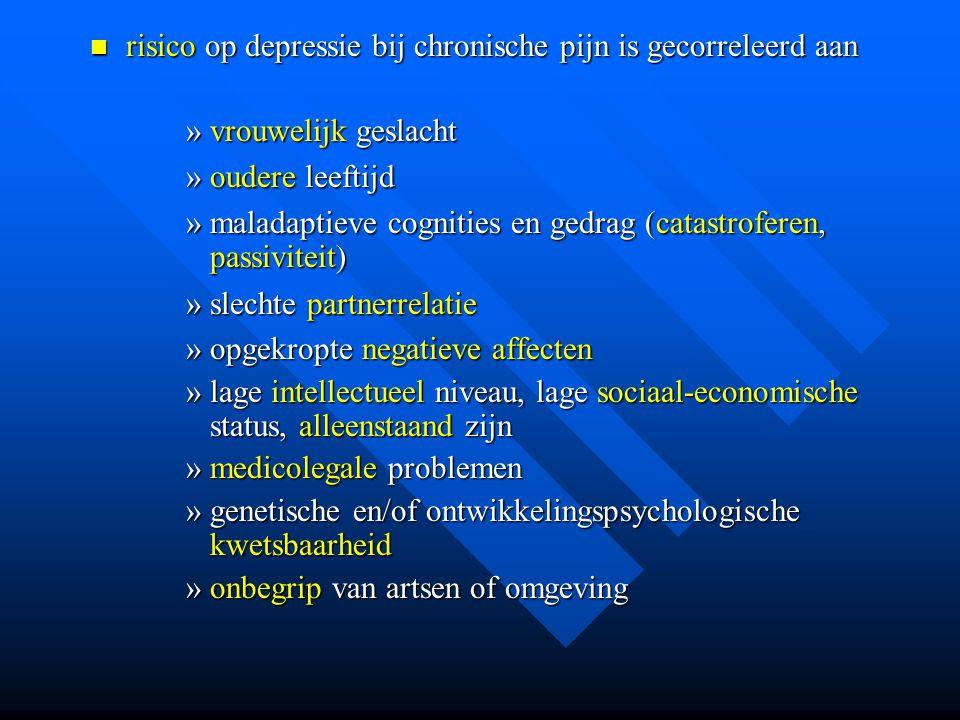 risico op depressie bij chronische pijn is gecorreleerd aan