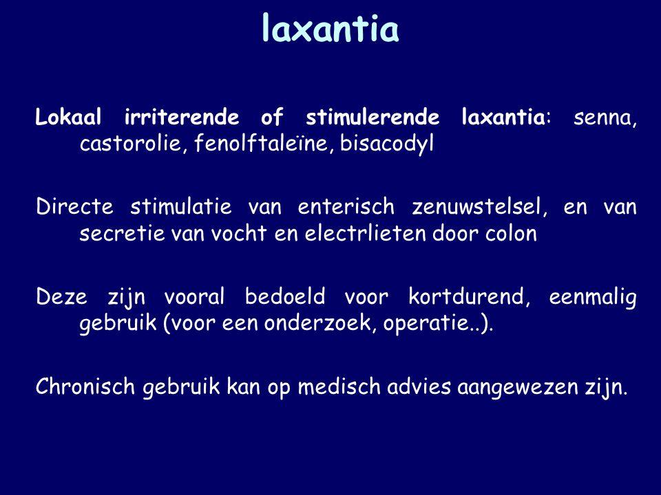 laxantia Lokaal irriterende of stimulerende laxantia: senna, castorolie, fenolftaleïne, bisacodyl.