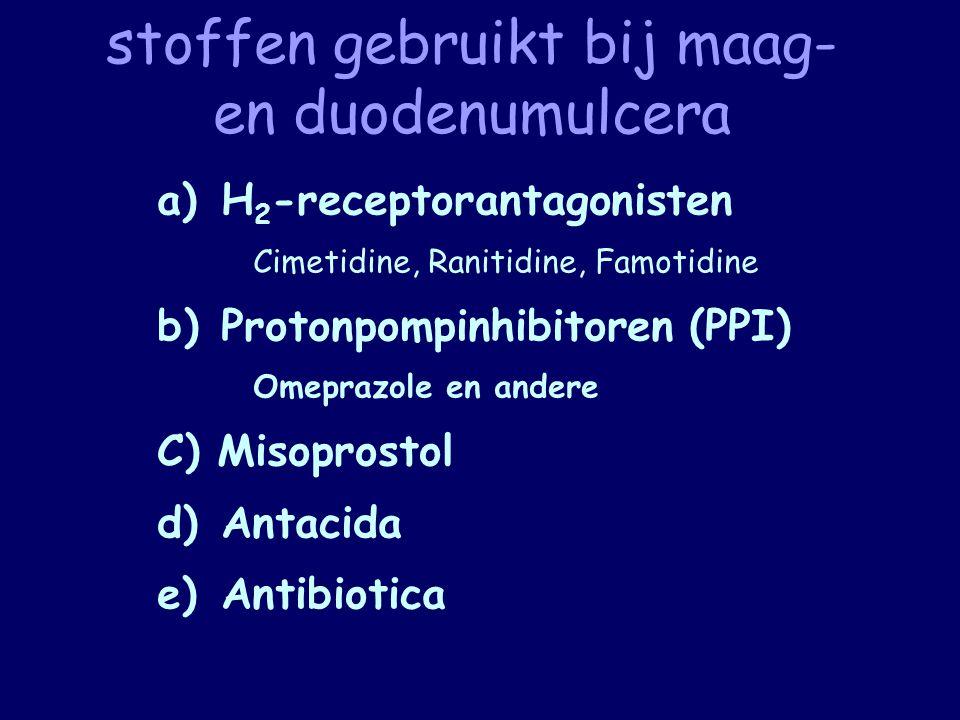 stoffen gebruikt bij maag- en duodenumulcera