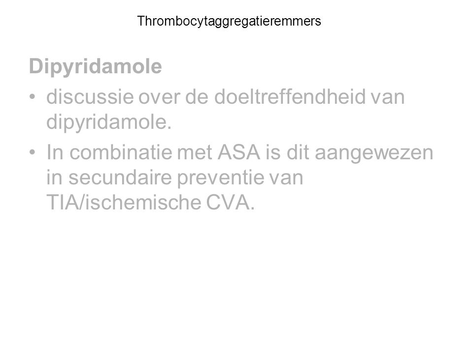 Thrombocytaggregatieremmers