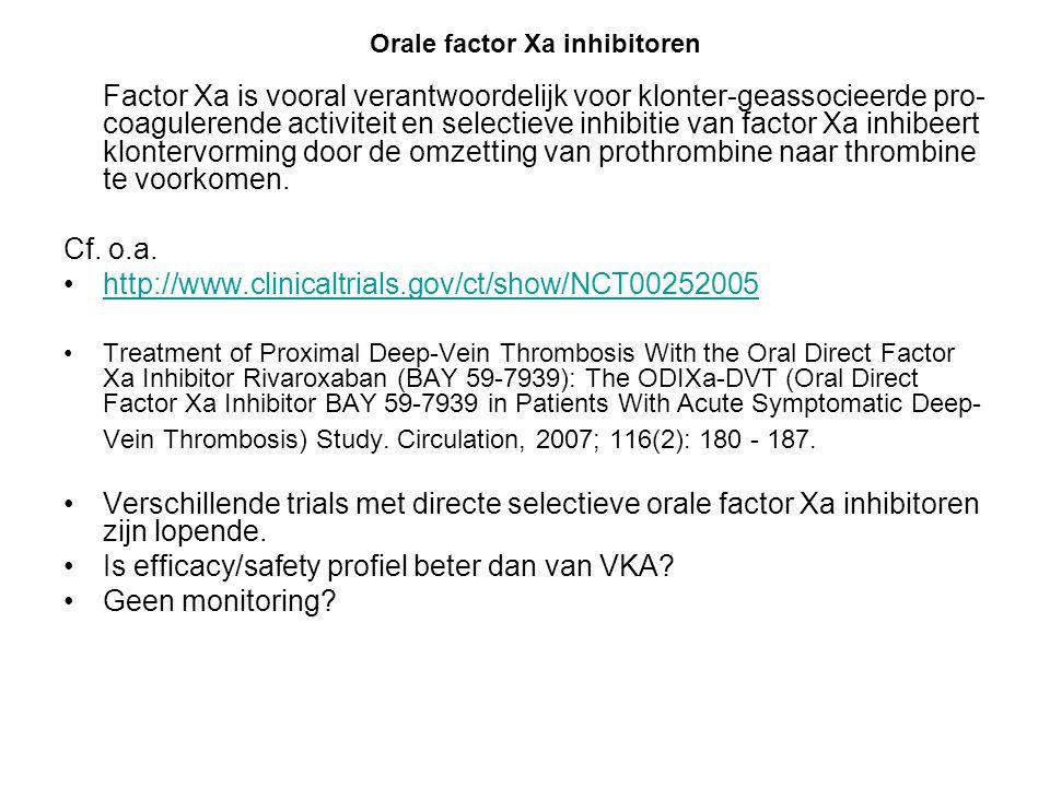 Is efficacy/safety profiel beter dan van VKA Geen monitoring