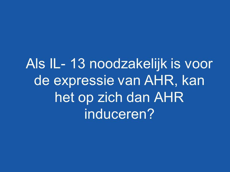 Als IL- 13 noodzakelijk is voor de expressie van AHR, kan het op zich dan AHR induceren