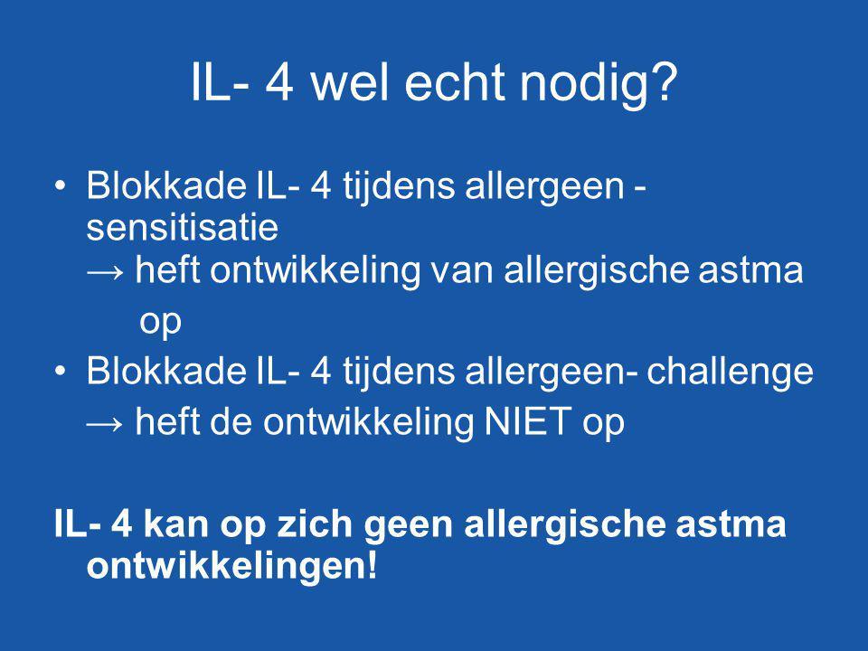 IL- 4 wel echt nodig Blokkade IL- 4 tijdens allergeen - sensitisatie → heft ontwikkeling van allergische astma.