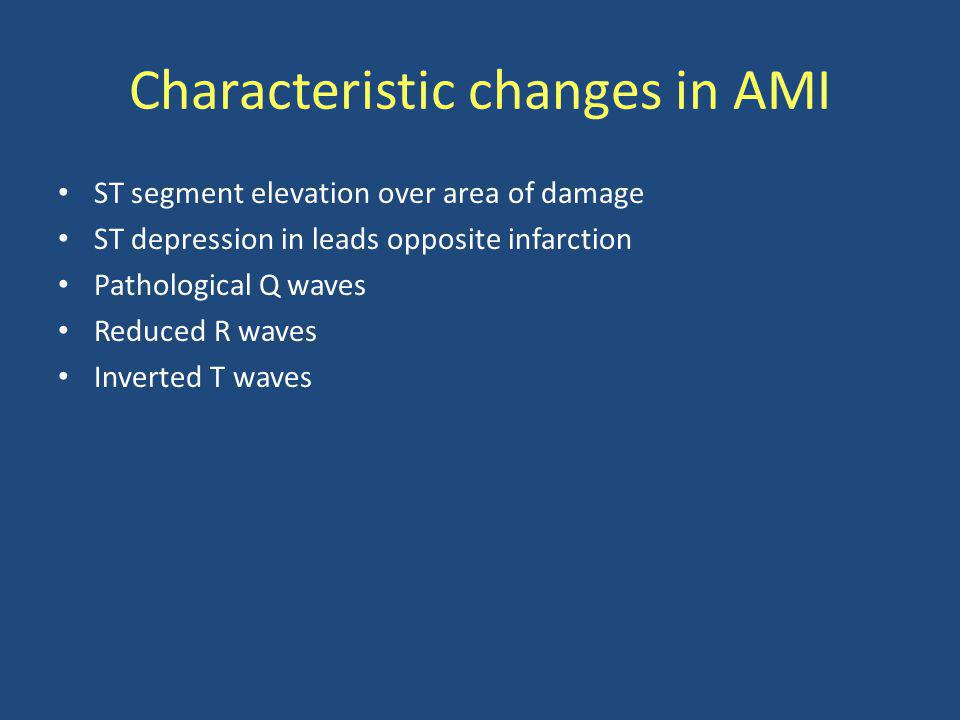Characteristic changes in AMI
