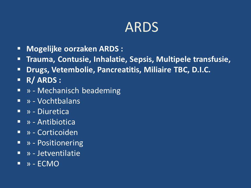 ARDS Mogelijke oorzaken ARDS :