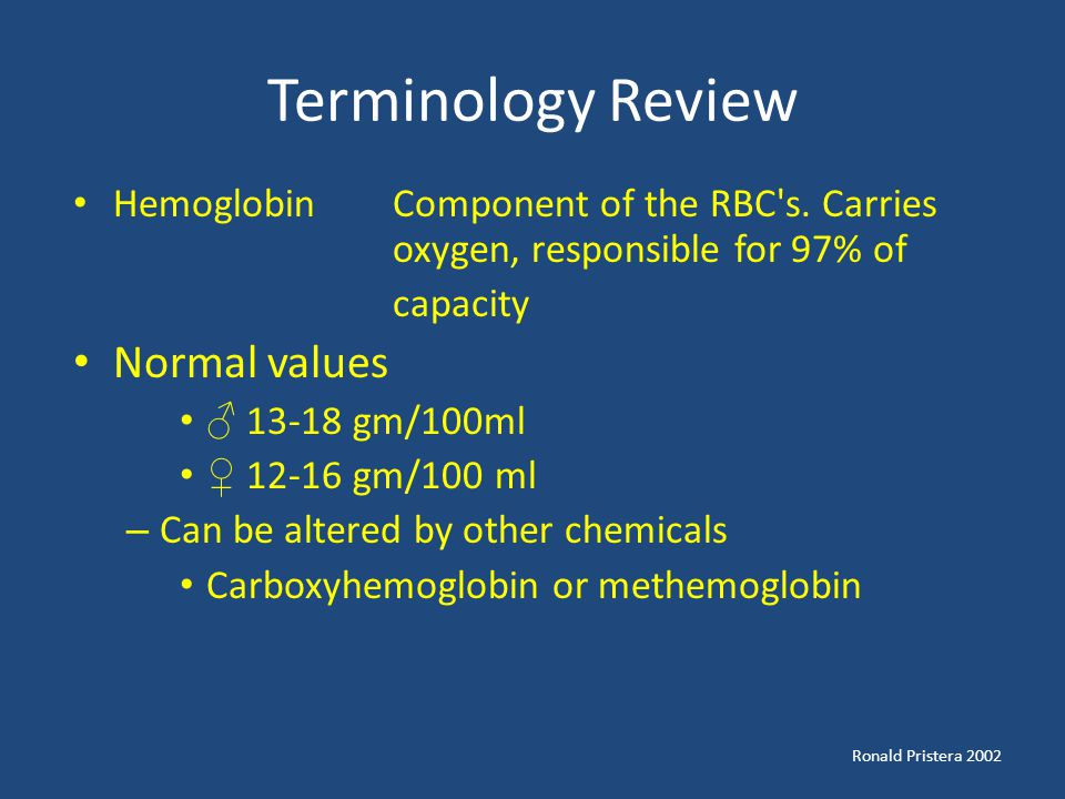Terminology Review Normal values