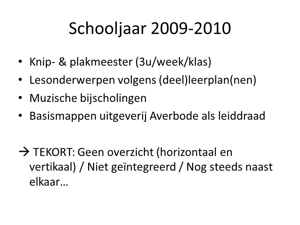 Schooljaar 2009-2010 Knip- & plakmeester (3u/week/klas)