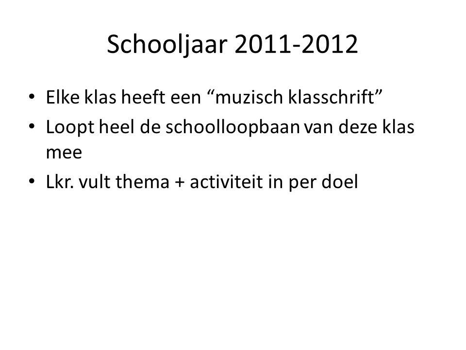 Schooljaar 2011-2012 Elke klas heeft een muzisch klasschrift