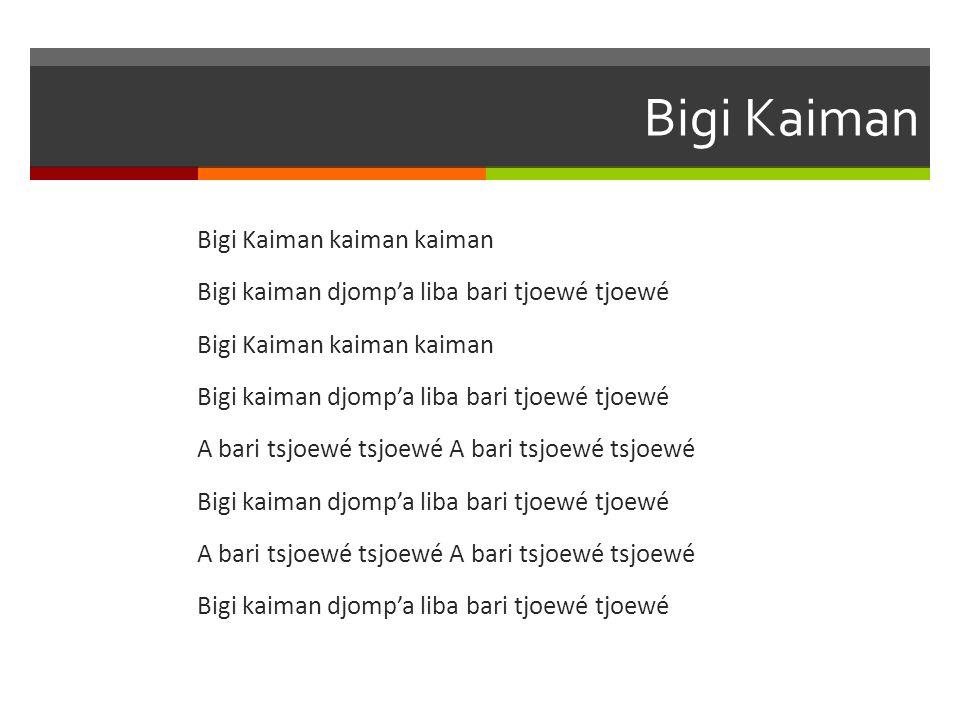 Bigi Kaiman Bigi Kaiman kaiman kaiman Bigi kaiman djomp'a liba bari tjoewé tjoewé A bari tsjoewé tsjoewé A bari tsjoewé tsjoewé