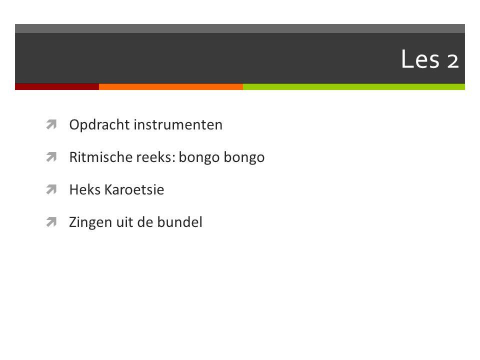Les 2 Opdracht instrumenten Ritmische reeks: bongo bongo
