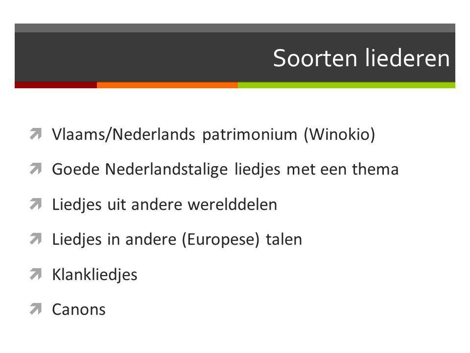 Soorten liederen Vlaams/Nederlands patrimonium (Winokio)