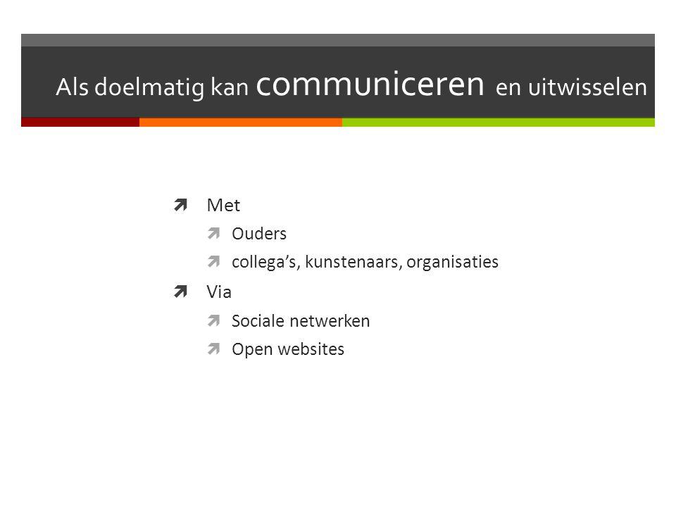 Als doelmatig kan communiceren en uitwisselen