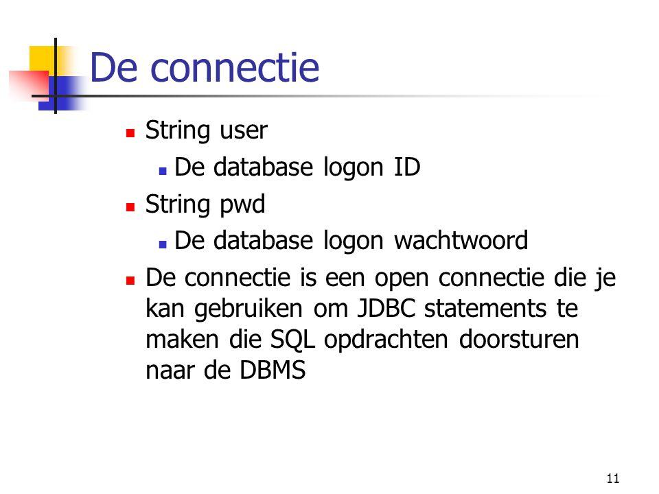 De connectie String user De database logon ID String pwd