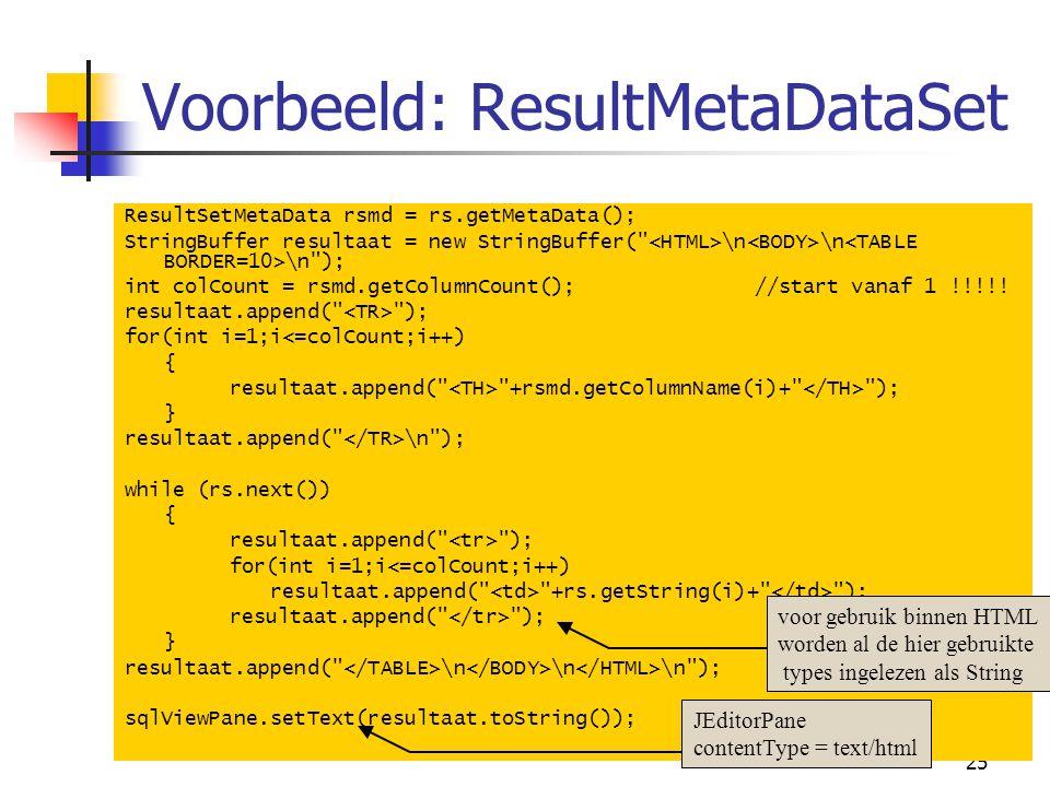 Voorbeeld: ResultMetaDataSet