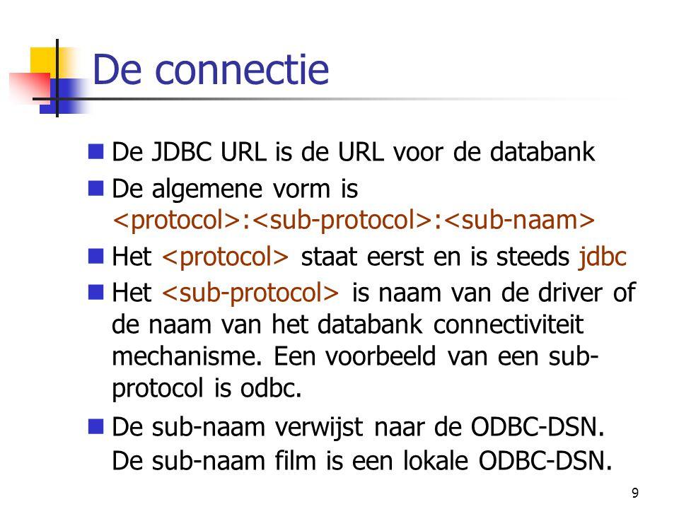De connectie De JDBC URL is de URL voor de databank