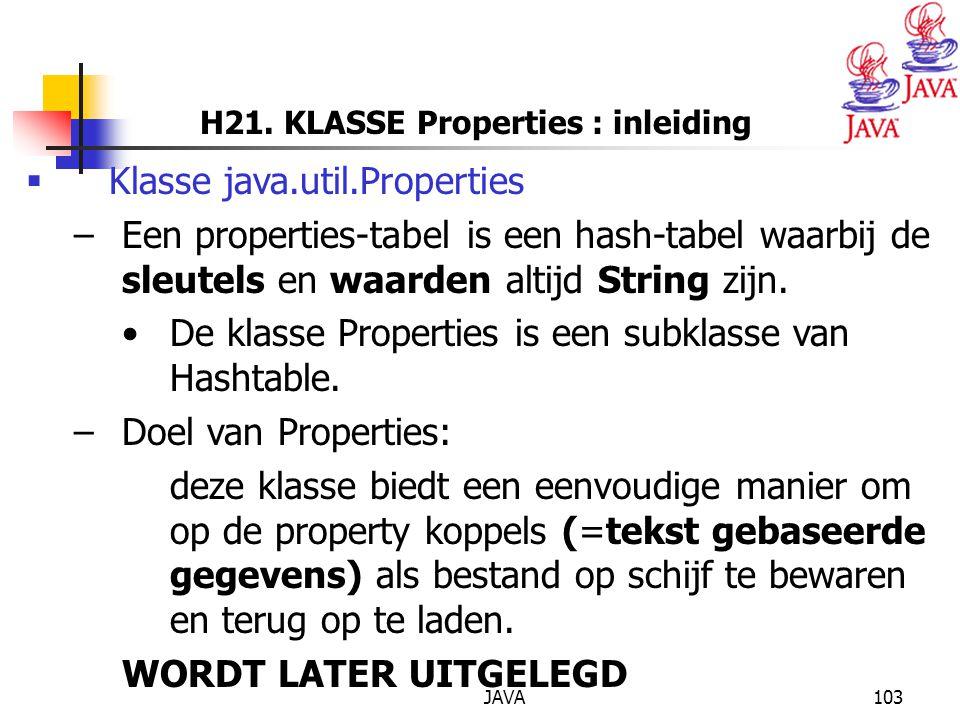 H21. KLASSE Properties : inleiding