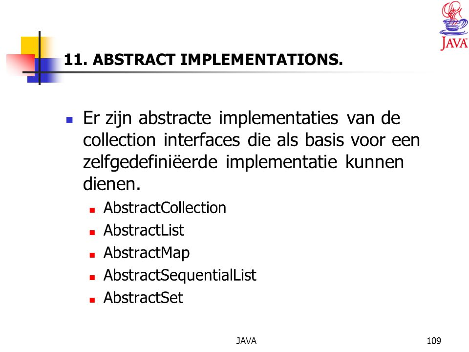 11. ABSTRACT IMPLEMENTATIONS.