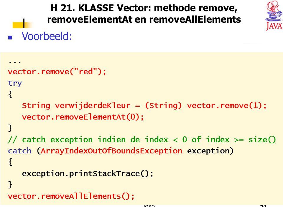 H 21. KLASSE Vector: methode remove, removeElementAt en removeAllElements